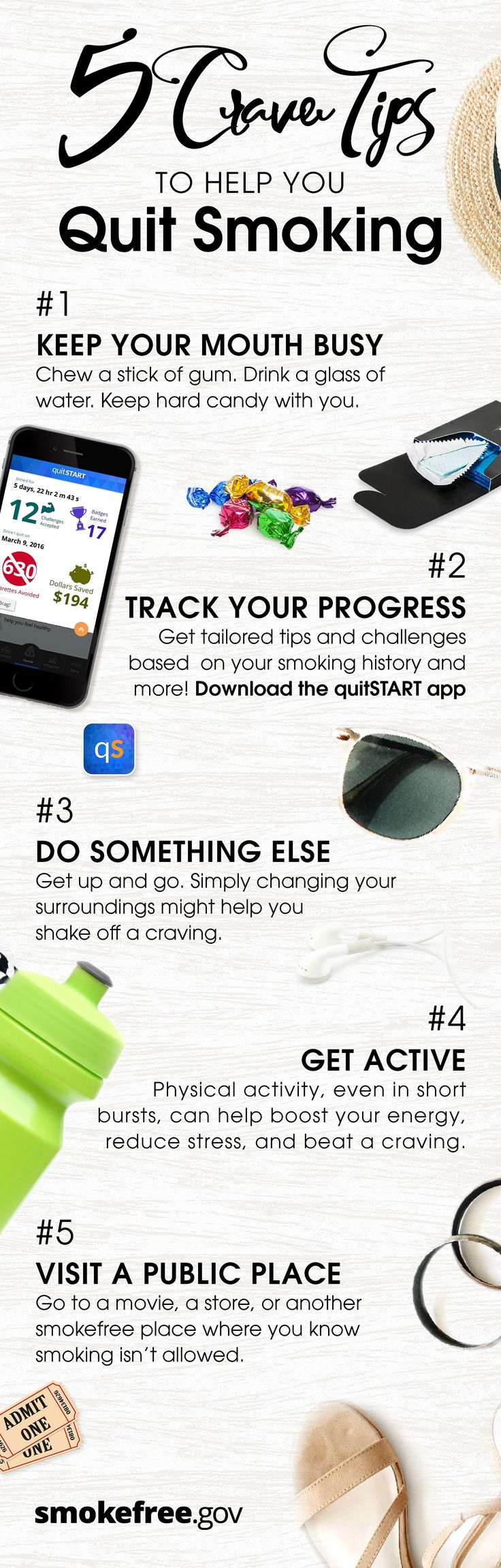 Crave Tip: Track it! Tracking your progress can help you stay motivated. Make sure to download the QuitStart app and follow these 5 tips to begin your #Smokefree journey now!