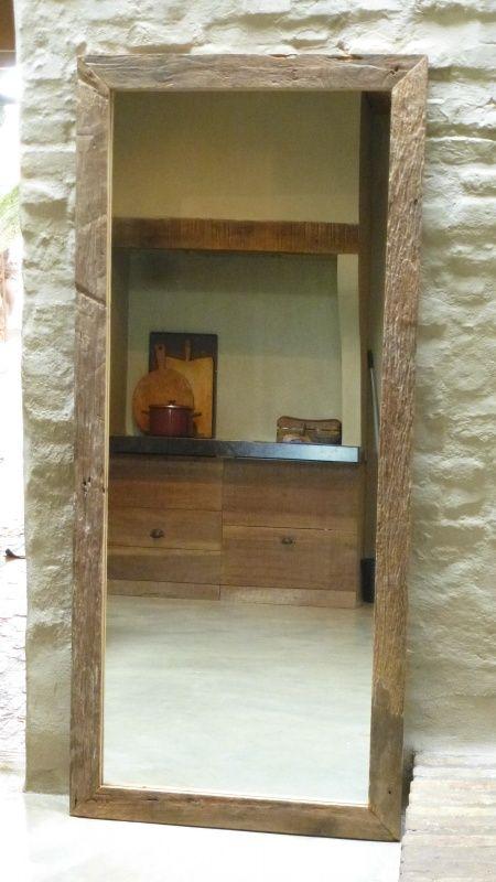 Grote teakhouten spiegel 180 X 80 cm