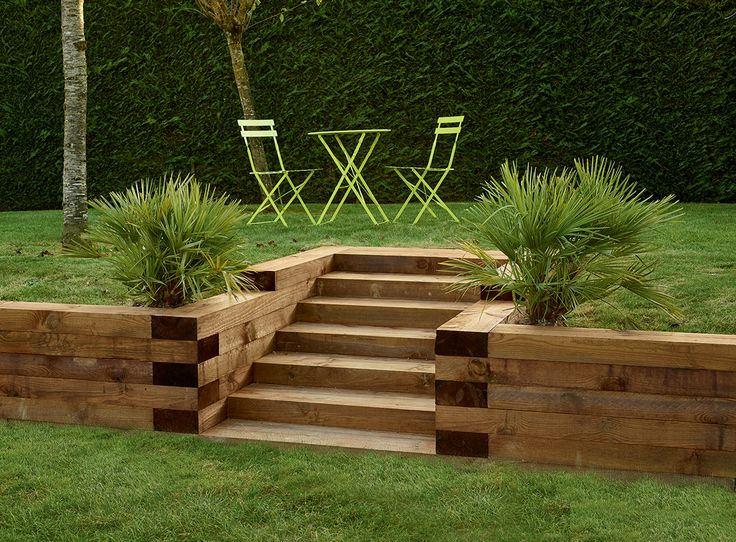 Traverses paysagères en bois. Utilisez les traverses paysagères en bois pour…