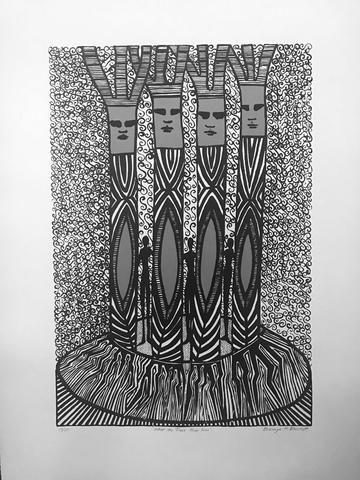 Bronwyn Bancroft 'What The Trees Have Seen' - screenprint on paper – Angela Tandori Fine Art