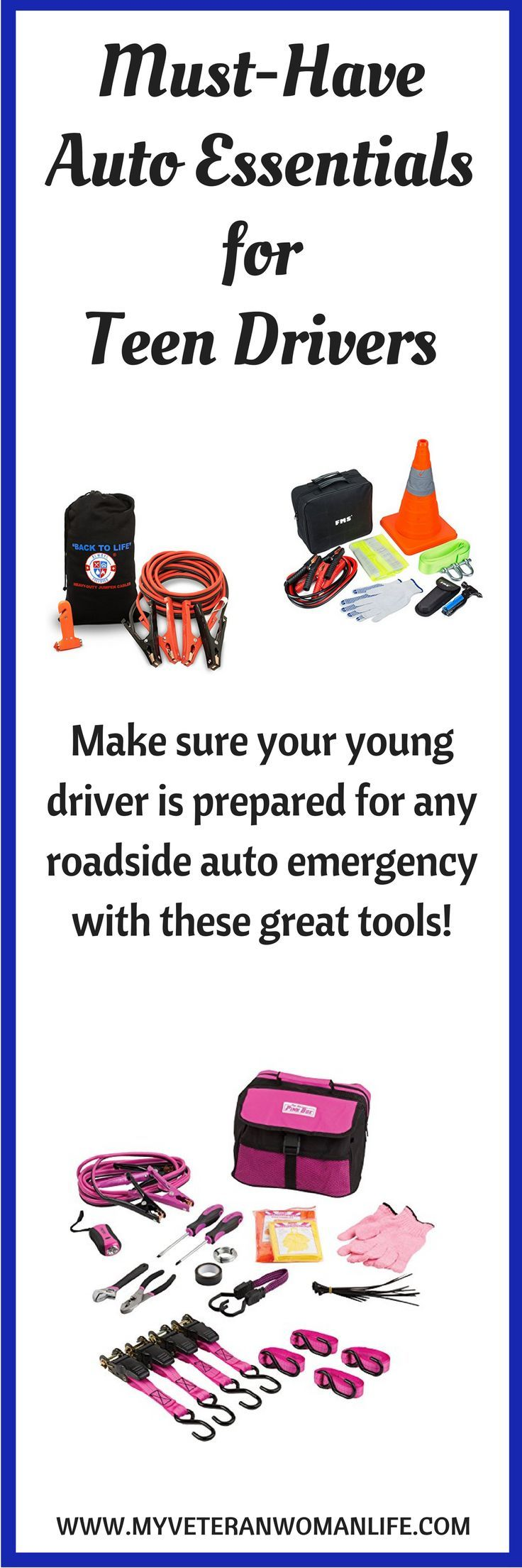 Make sure you teen is ready for any emergency with these must-have auto essentials for teen drivers!  Jumper cables, flashlights, tire pressure gauge, reflective markers, and more.