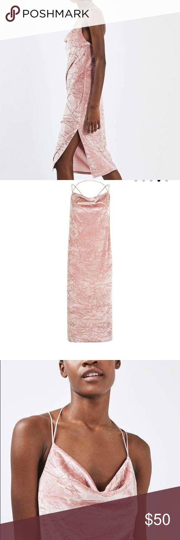 💕 blush crushed velvet cowl neck midi dress Embrace the '90s in this cute midi dress in pink crushed velvet. With a cowl neck and cross back strap detail, it looks perfect worn as a party piece or over a plain T-shirt during the day. Has a side slit on the right. It's all about velvet this season. 91% Polyester, 9% Elastane. Machine wash. US size 2. U.K. Size 6. EUR size 34. Topshop Dresses Midi