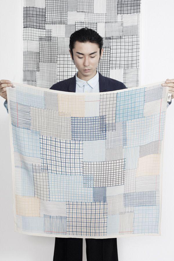 "SuTurno ""Notas"" silk scarves www.suturno.net/ Photo: Lourdes Cabrera www.lourdescabrer... Model: Yohei Oki"