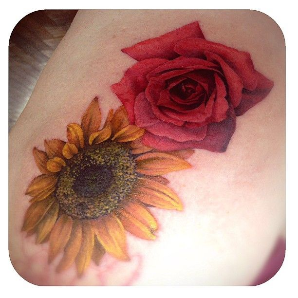 Sunflower And Rose Tattoo