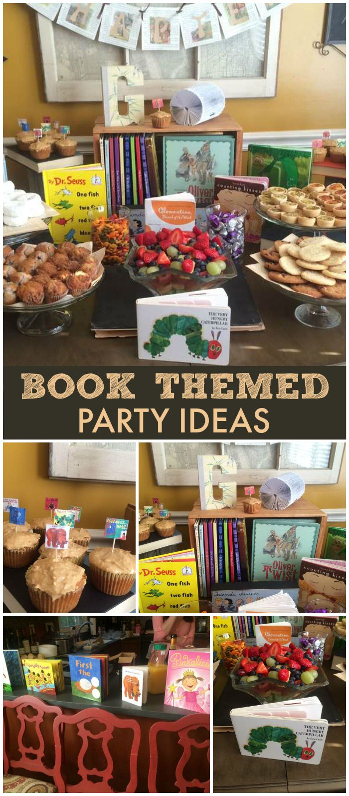 What a fun book themed baby shower with book-themed food and decorations! See more party planning ideas at CatchMyParty.com!