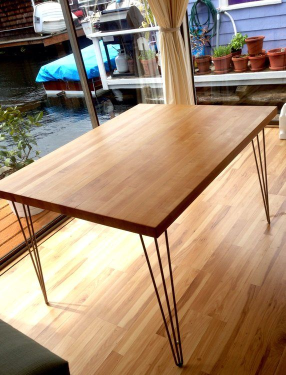 Butcher Block Dinette | Maple Butcher Block Dining Table W/ Hairpin Legs