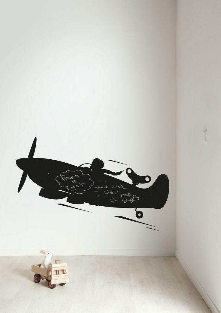 Stoere muursticker van een vliegtuig voor jongens Airplane XL.