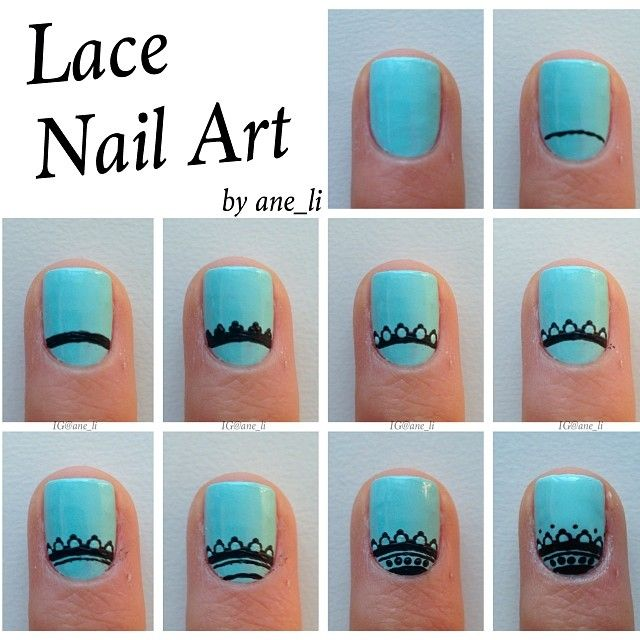 """""""Here's a tutorial for the lace nails  Description below ⬇️ 1⃣ Apply a basecoat and paint your nails a solid color 2⃣ Make a slightly curved line near…"""""""