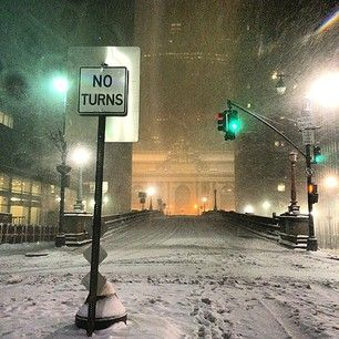 The roads outside Grand Central Station were covered in snow. | 15 Eerily Beautiful Photos Of Snowy And Deserted New York Streets - BuzzFeed News