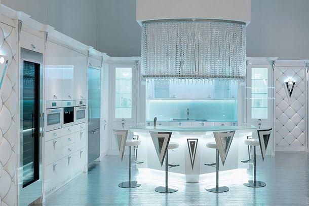 Кухня Opera 30, кожа, перламутровое стекло, МДФ, металл, хрусталь, Brummel Cucine.