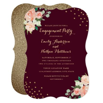 Burgundy Gold Floral Confetti Engagement Party Card - floral style flower flowers stylish diy personalize