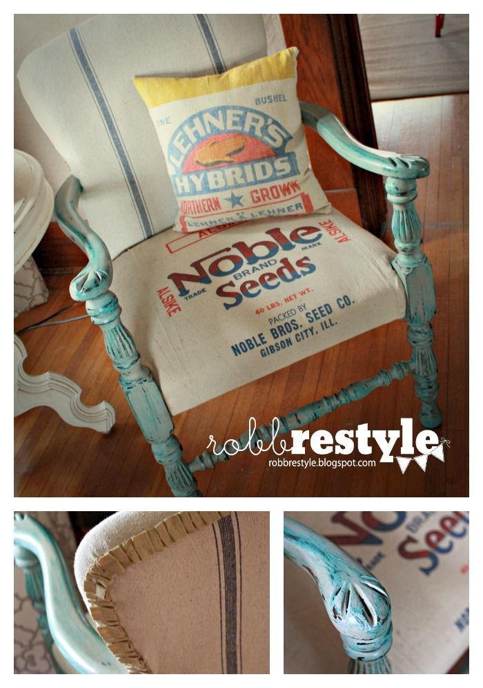 I spotted this gem at a garage sale years ago. It's been tucked away in my basement collecting dust, waiting for some inspiration… until now. I was most attracted to the decorative arms and feet – knowing that distressed paint would adhere to the grooves and really give this piece some character. Repurposed feed and …