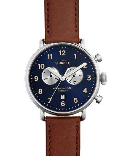 Shinola+43mm+Canfield+Chronograph+Watch+Brown+|+Jewelry+and+Accessory