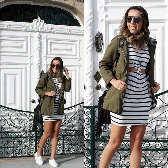 Love this simple look :) Get this look: http://lb.nu/look/7984456  More looks by Cá Cavalcant: http://lb.nu/cacavalcant  Items in this look:  Deal Sale Dress   #casual #sporty #street #dresses #striped #stripess #vestidolistrado #vestidocomtenis #tenisbranco