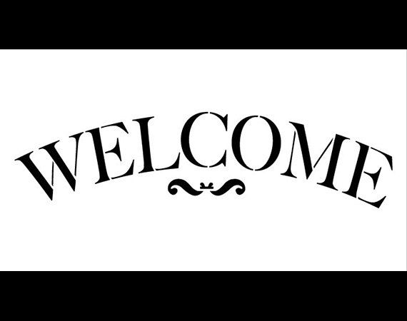 "Welcome Word Stencil - Traditional Serif Arched - 11"" X 6"" - STCL584 - by StudioR12"