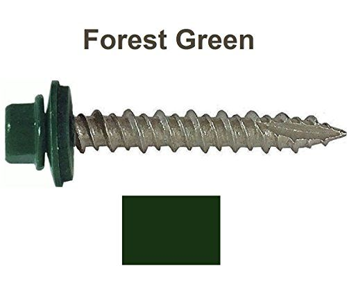 Cheap Metal ROOFING SCREWS: (250) Screws x 1-1/ IVY GREEN/FOREST GREEN Hex Washer Head Sheet Metal Roof Screw. Self starting/self tapping metal to wood sheet metal roofing siding screws ~ EPDM washer. Metal Roof screw with colored head ~For corrugated roofing on sale 2017