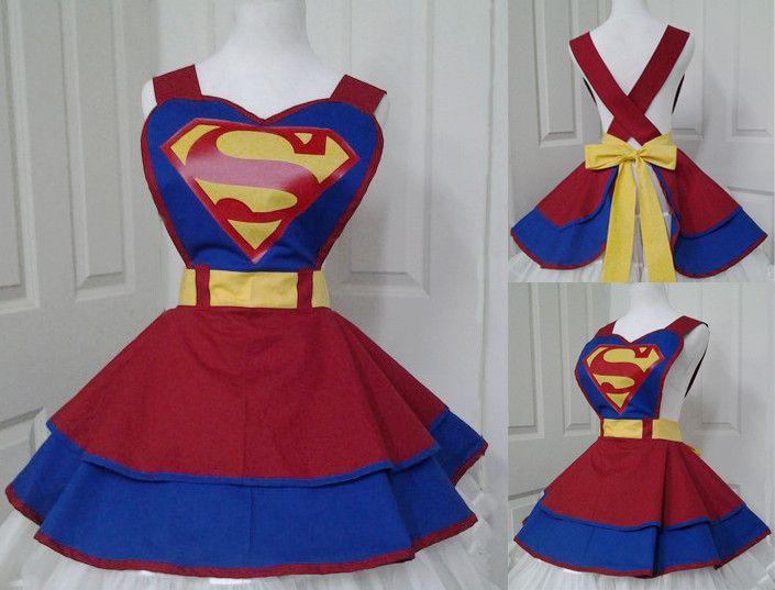 Super Hero Justice league Super Man 100% cotton sexy woman cosplay retro apron