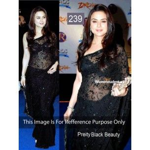 #Designer #Preity Zinta Bollywood Replica Saree Shop now : http://www.valehri.com/preity-zinta-bollywood-replica-black-net-saree-with-dhupian-blouse-1793