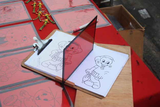 Prancheta com espelho para desenho / anos 80