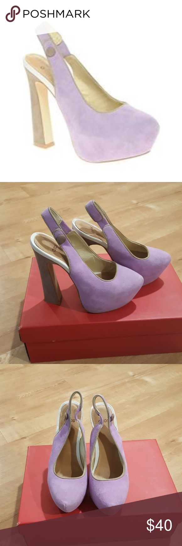 Asos PISA suede platform heels Suede platform heels in lavender.   Size is UK3=US5  Shoes are in excellent condition with minimal signs of wear--be sure to see pix :) Asos Shoes