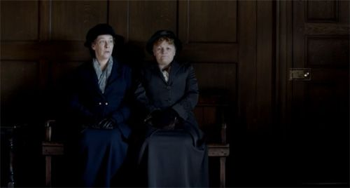 Waiting for news on Mrs Hughes on Downton Abbey Season 3 Episode 3