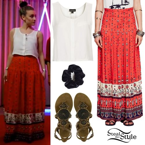 Perrie Edwards was wearing a Topshop Crop Button Vest ($52.00), the Free People Desert Wanderer Split Maxi Skirt ($148.00), an American Apparel Velvet Scrunchie ($6.00) and a pair of Blowfish Largo Embellished Flat Sandals (Sold Out) at the Little Mix Livestream today.