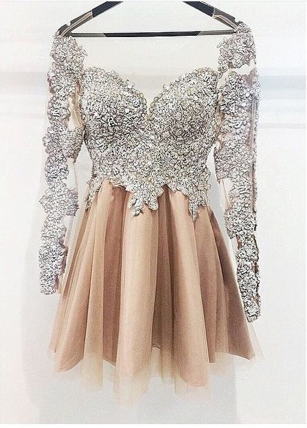 Sexy Prom Dress,Long Sleeve Prom Dress,Elegant Prom Dresses,Tulle