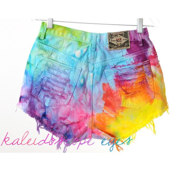 Vintage Rainbow Marbled Dyed Denim Destroyed High Waist Cut Off Shorts... ($65) ❤ liked on Polyvore featuring shorts, silver, women's clothing, high rise denim shorts, high waisted denim shorts, denim cut-off shorts, vintage high waisted shorts and ripped shorts