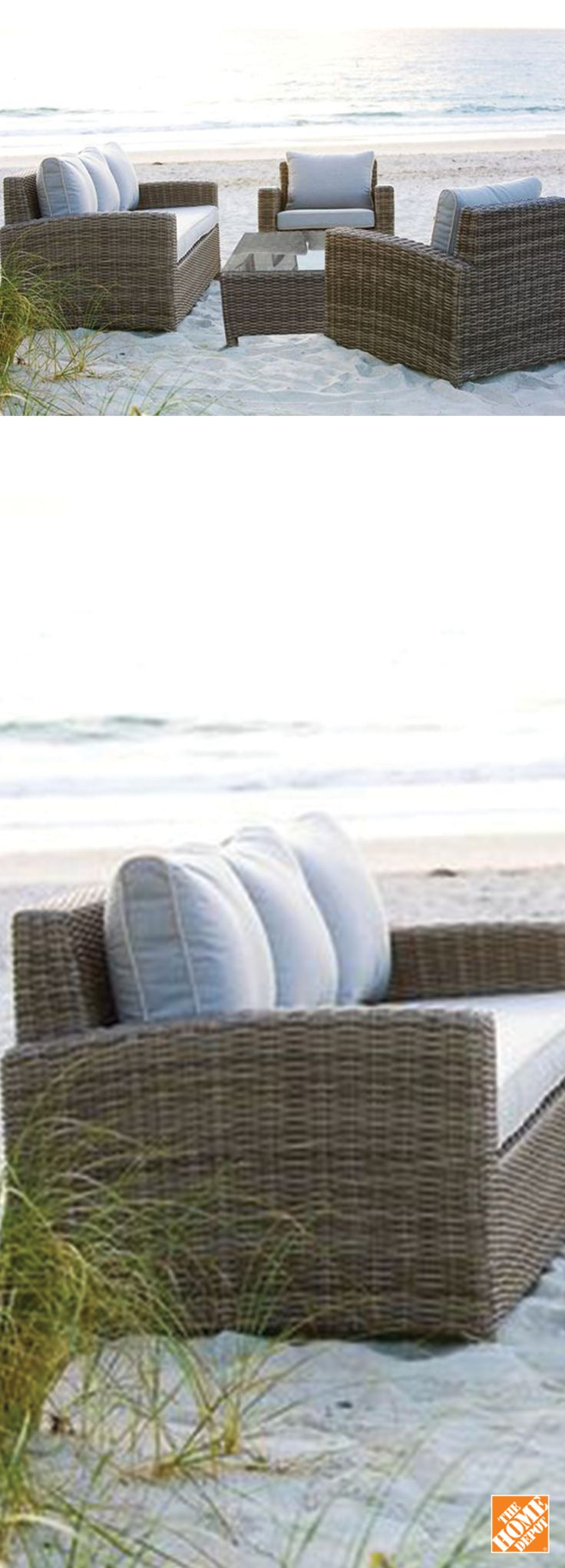 Made using all-weather resin wicker and weather resistant cushions, this design driven collection includes a fully woven glass top coffee table, two lounge chairs and one triple sofa. Shop now at HomeDepot.ca: http://hdepot.ca/2oYBujr