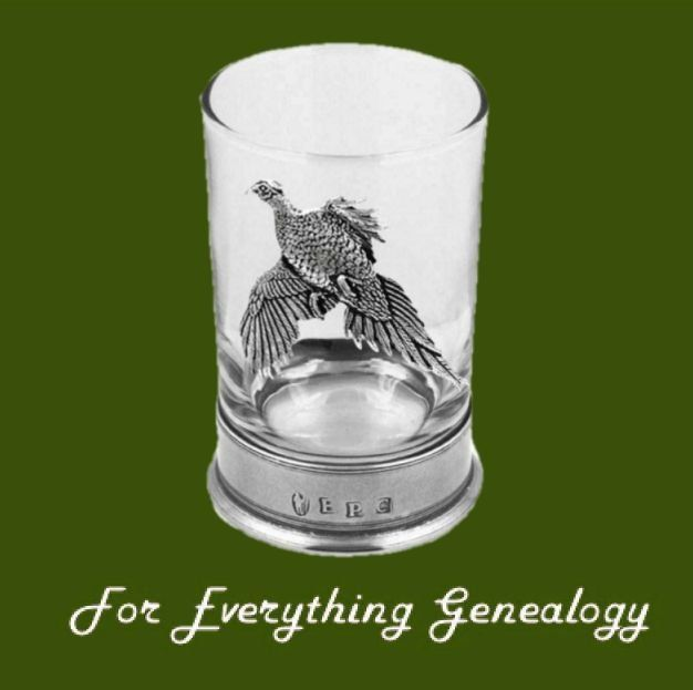 Pheasant Bird Themed 9cm Single Hiball Stylish Pewter Accent Spirit Glass
