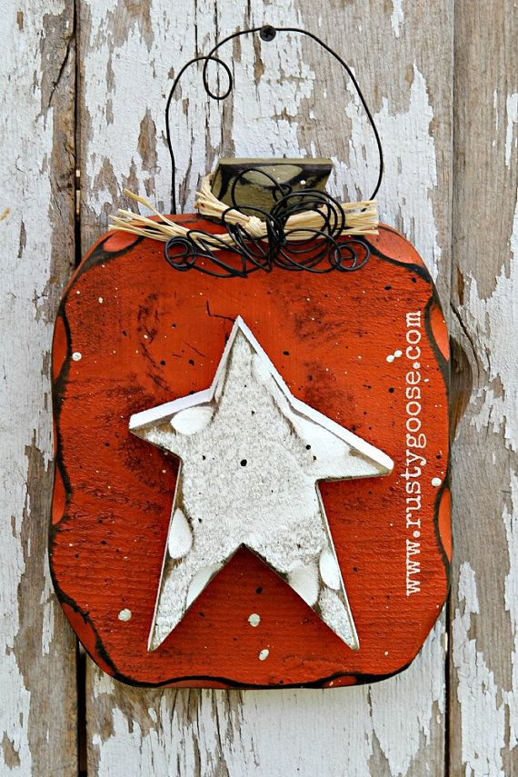Pumpkin Door Hanger Primitive Fall Decor Harvest by therustygoose