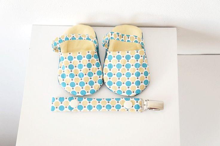 Chaussons sandales et attache-tétine, bébé garçon, 6-9 mois : Mode Bébé par hazaliwa