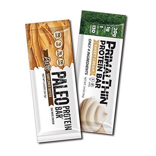 Our Clean Protein Bar Combo Each Have 4 Ingredients & 20g Protein w/(Organic Whey or Egg White) 1g Sugar (Naturally Occurring - Monk Fruit Sweetened) Gluten Free & GMO Free Only 4 Simple Ingredients, From 130 Calories (6 Primal 6 Paleo Protein Bars =12 Total) Lab Tested With Labs Mart In Michigan For Nutritional Accuracy (1 Net Carb or 5 Net Carbs) Two Varieties (Paleo/Primal) Delicious Sweet Cream or SunButter Taste, Naturally Preserved Using Stay Fresh Technology...