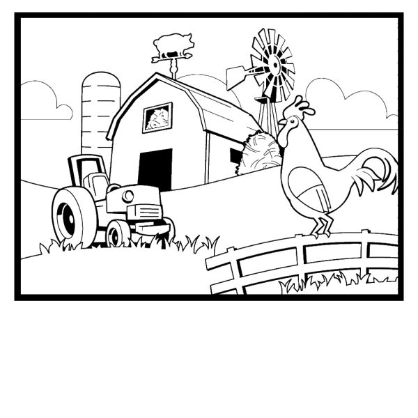 Rooster At The Farm Coloring Page