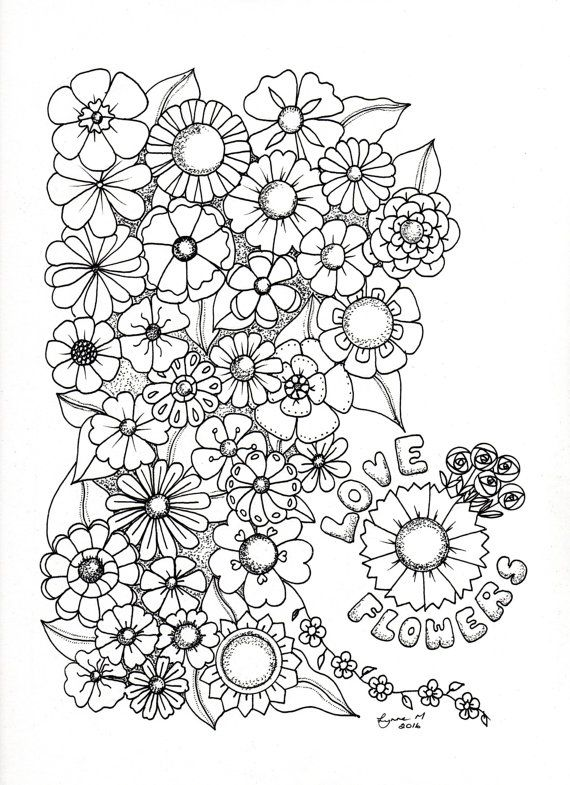 Love Flowers colouring page by ColourItByLynneMcGee on Etsy