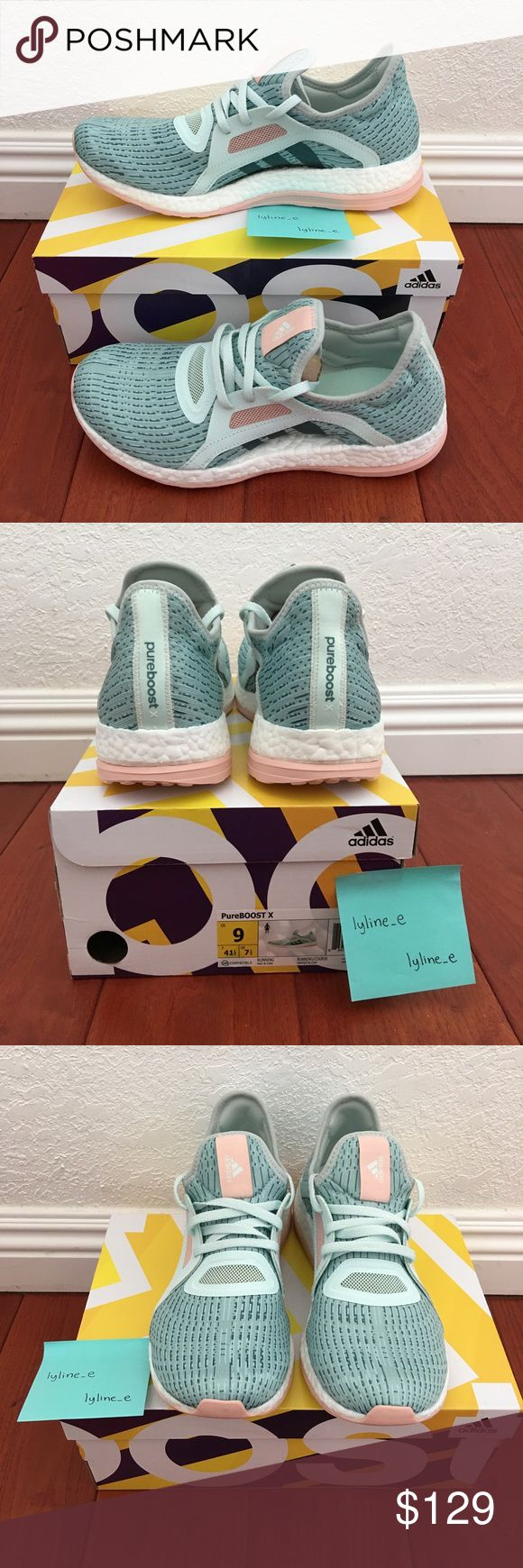 Adidas Pure BOOST X Running Ice Mint Green Brand New Adidas Pure Boost X Running Ice Mint Green in Original Box ready to ship. 100% authentic guaranteed. Women Size 9 US. Will ship double boxed within 24 hours upon receiving payment. Please make sure you order the correct size as no returns or exchanges will be accepted. Adidas Shoes Athletic Shoes