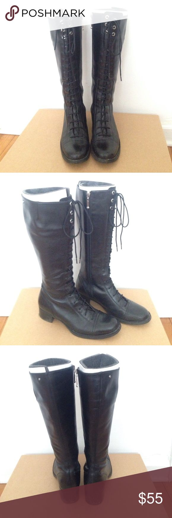 Rockport Leiden lace up knee high rocker boots Combat knee high boots in black leather. Super comfortable and beautiful leather. Barely worn (too big for my 7.5-8 feet), a true size 8.5. Will ship in original shoe box. Anthropologie Shoes Combat & Moto Boots