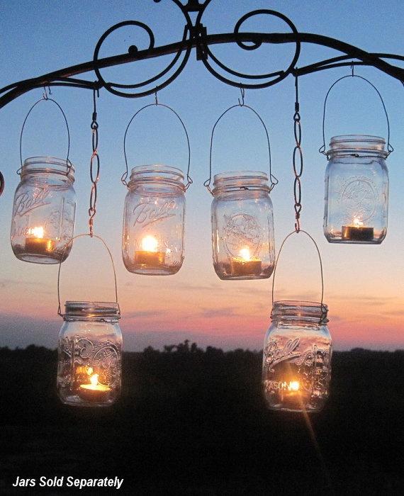 DIY Wedding Mason Jars Lanterns Hangers 6 DIY Outdoor Party Hanging Candle Kits, Luminaries by TreasureAgain, Handmade Hangers Only-No Jars