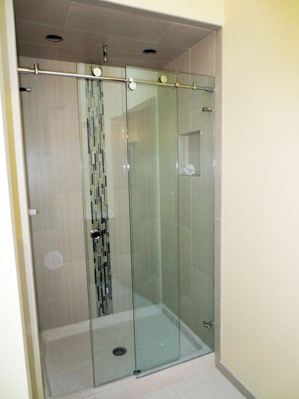 trackless+frameless+glass+sliding+shower+door | Skyline series frameless sliding shower door with polished stainless ...
