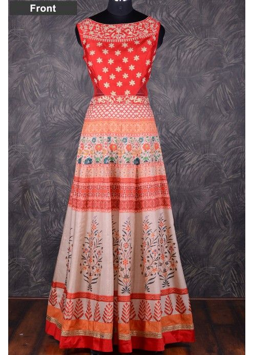 Kalidar printed salwar with gota work waist yoke-SL6946