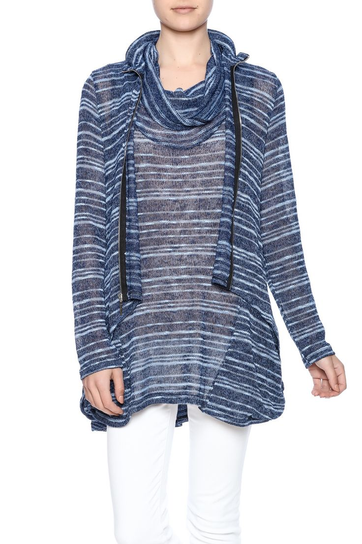 Lightweight blue striped cardigan with a zipper front wired neck and long sleeves.  High-Low Zip Cardigan by Comfy USA. Clothing - Sweaters - Cardigans Illinois