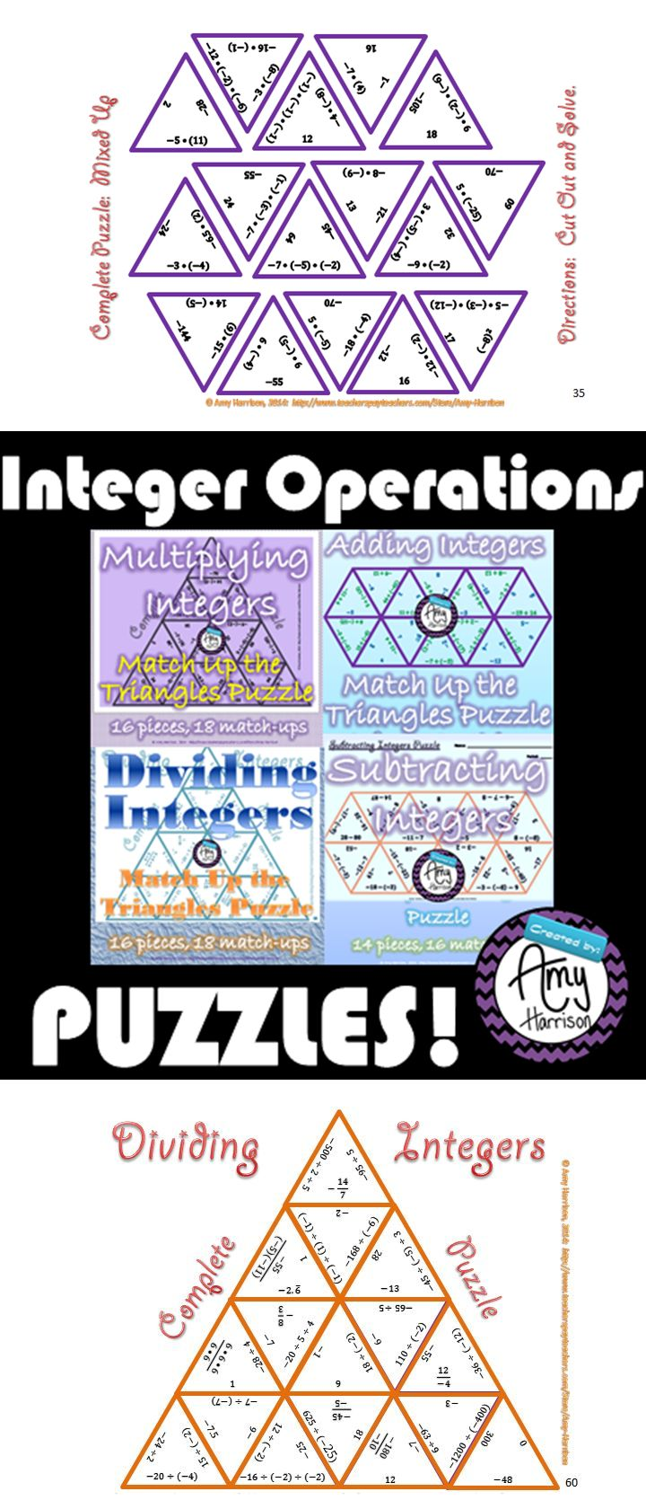 4 Puzzles:  Integer Operations:  Adding, Subtracting, Multiplying, & Dividing.