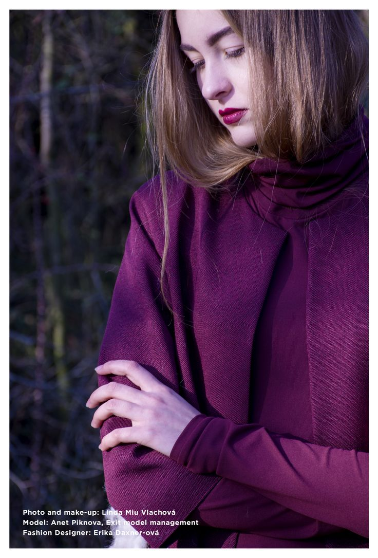 Fashion photography and make-up : Linda Miu Vlachova, Model : Anet Piknova, Exit model management, Fashion Designer : Erika Daxner-ová  https://www.facebook.com/MiuPhotographyDesign/?fref=ts  http://vlachovalinda.wix.com/portfolio  #purple #coat #fashion #design #model #girl #women #photography #outdoor #forest #dark #background #nature #blond