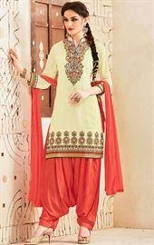 Show details for Admirable Cream Patiala Salwar Suit
