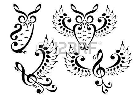 zene bagoly és a repülő madár készült zenei hangok, vektor meg