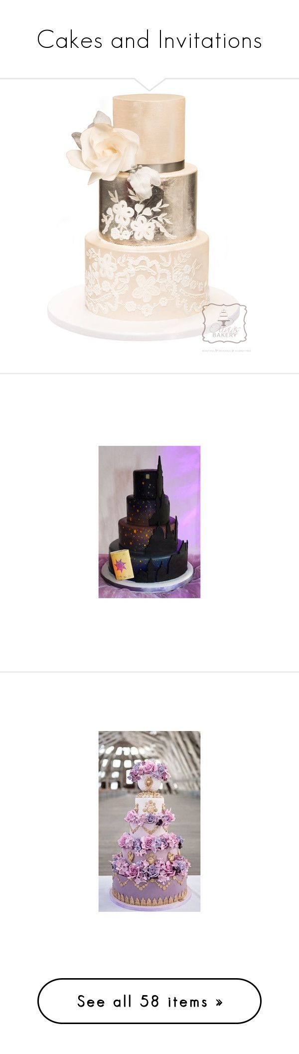 """""""Cakes and Invitations"""" by silverbellatrix ❤ liked on Polyvore featuring food, wedding cakes, cake, weddings, wedding, cakes, wedding cake, backgrounds, music and food and drink"""