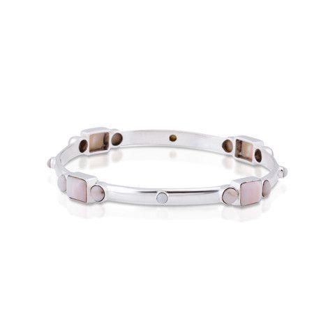 Skipping Stones Bangle. Pink Opal