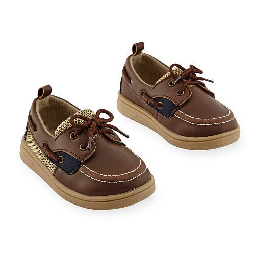 He'll be ready for adventure in these Koala Kids Boys Brown/Beige Faux Lace Up…
