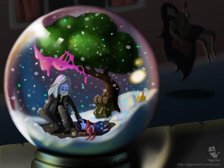 #IceKing #AdventureTime #Simon #Marcy #SimonAndMarcy #Marceline #PrincessBubblegum #snowglobe #fanart #painting