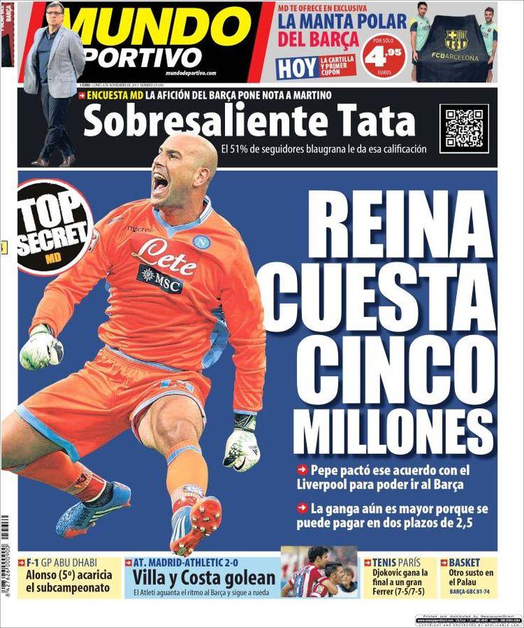Los Titulares y Portadas de Noticias Destacadas Españolas del 4 de Noviembre de 2013 del Diario Mundo Deportivo ¿Que le pareció esta Portada de este Diario Español?
